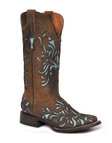 (Stetson Women's Mad Dog Inlay Brown Leather Cowgirl Boots 7 M)