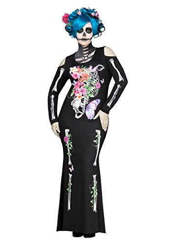 Fun World Women's Plus Size Beautiful Bones Costume, Multi, X-Large -