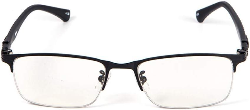 コンピュータメガネインテリジェントズーム老眼鏡アンチブルーライト、プログレッシブマルチフォーカス老眼鏡遠いと二重使用の男性と女性+1.0 dumb 黒 200°