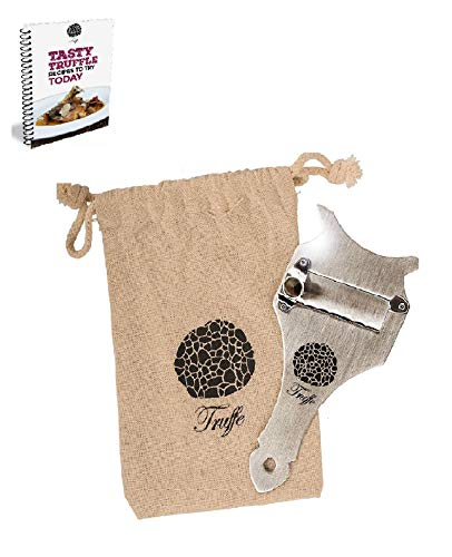 5☆ Truffle Slicer & Chocolate Shaver with Chic Fabric Bag + Recipe E-Book. Trim Those Truffles Today! Also Shaves Cheese, Garlic, Mushrooms & Veggies! Premium Stainless Steel & Adjustable Blade
