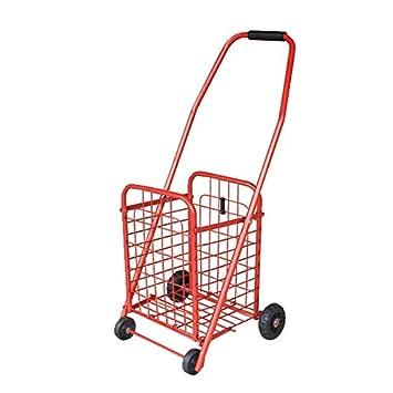 RFJJAL Carro de Compras Plegable clásico, Carrito de supermercado con Cuatro Ruedas (Color : Red): Amazon.es: Hogar