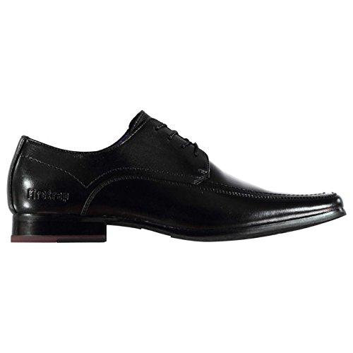 Firetrap Boston Herren Leder Schuhe Schnürschuhe Halbschuhe Geprägt Logo Schwarz 7 (41)