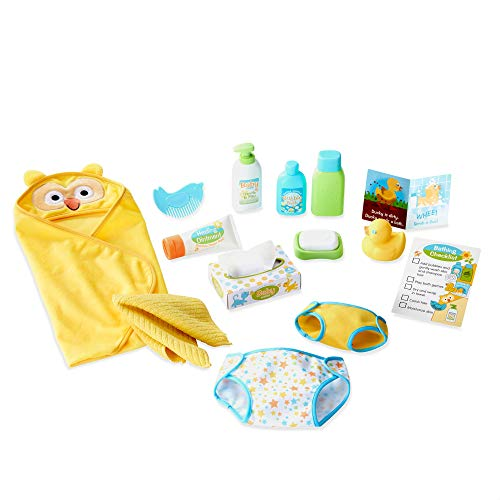 Melissa & Doug Mine to Love Changing & Bath Time Play Set for Dolls (Diapers, Pretend Shampoo, Wipes, Towel, More, 19 Pieces, Great Gift for Girls and Boys - Best for 3, 4, 5, and 6 Year Olds) (Accessories Bath Owl)
