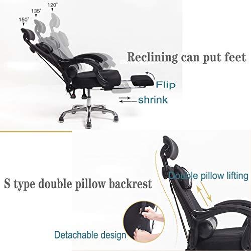 Kontorsstol svängbar nätduk skrivbordsstolar ergonomisk vilstol med vadderat fotstöd och ländrygg kudde justerbar höjd
