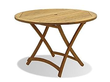 Amazon De Salem Teak Gartentisch Tisch Klappbar Rund 110 Cm