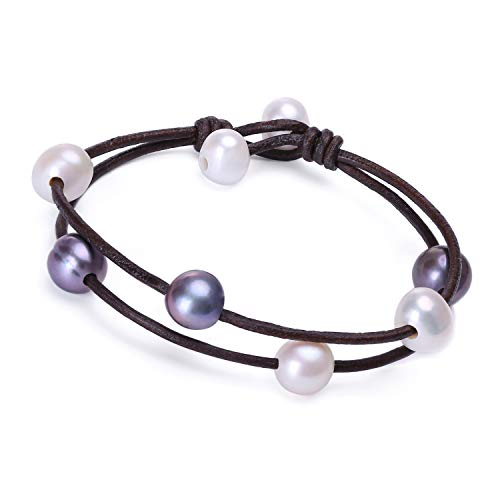 - Cultured Freshwater Pearl Bracelet Genuine Leather Cord Bangle Handmade Adjustable Cuff Bracelet for Women