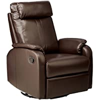 Monarch Specialties Bonded Leather Swivel Rocker Recliner, Dark Brown