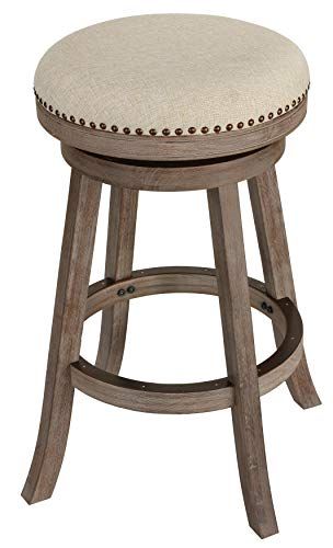 "Cortesi Home Piper Backless Swivel Bar Stool in Solid Wood & Beige Fabric, 30"" H"