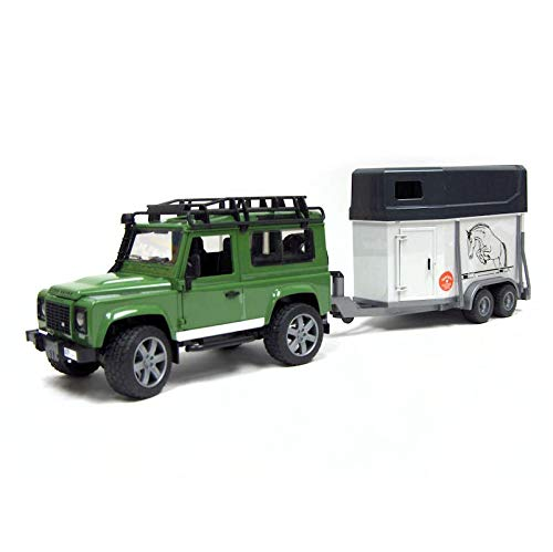 (Bruder Toys Land Rover Defender Station Wagon With Horse Trailer And 1 Horse)