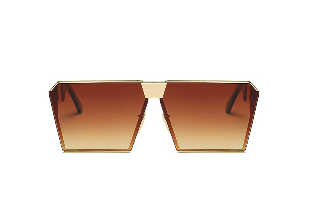VATENANI Fashion Oversized Mirrored Flat Lens Square Metal Frame Polarized Unisex Sunglasses