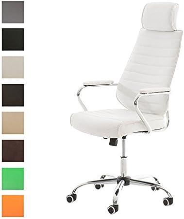 CLP Silla De Oficina Rako En Simil Cuero I Silla Ejecutiva Altura Regulable I Silla De Escritorio/Ordenador Giratoria & Ergonómica I Color: Blanco