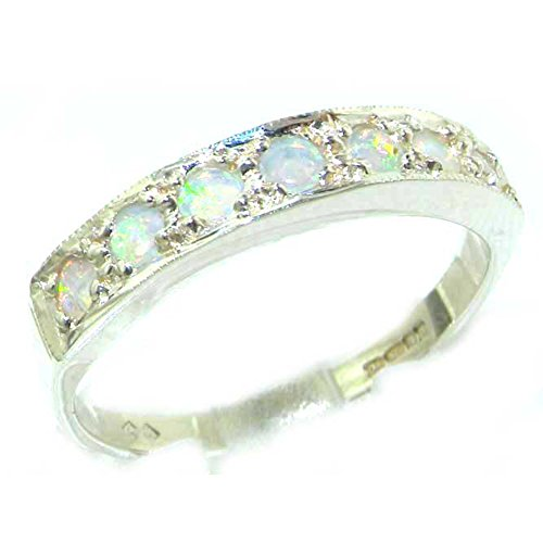925 Sterling Silver Natural Opal Womens Band Ring - Sizes 4 to 12 Available by LetsBuySilver