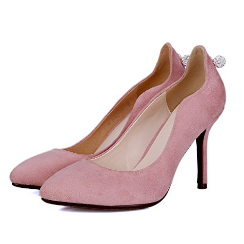 AmoonyFashion Womens Pull-on High-Heels Imitated Suede Solid Closed Pointed Toe Pumps-Shoes Pink qo9eTHtZ5H