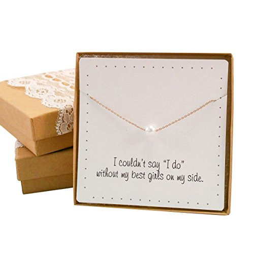 BRIDE DAZZLE Bridesmaid Gifts- Pretty Single Floating Bridal Pearl Necklace, Gold Color, Set of 4 -