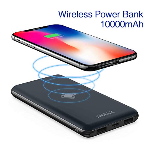 iWALK Wireless Portable Charger, 10000mAh Quick Charge 3.0 & PD 18W Power Bank with 4 Outputs & Dual Inputs, External Battery Compatible with iPhone 11 pro,iPad,Samsung and More