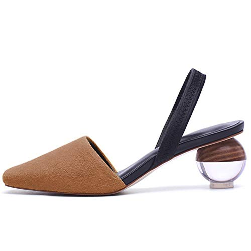 Kmeioo Pumps for Women, Clear Heel Sandals Square Toe Slingback Pumps Slip On Wedding Dress Shoes Brown ()