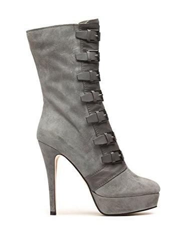 Winter Mid Multi Platform Women's Gray Stilettos Boots Heel Calf High Zipper Buckles z7q6C