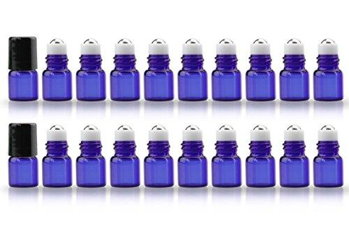 20 Pack Set 1ML Mini Cobalt Blue Sample Roll Glass Bottles for Essential Oils Roller Refillable Perfume Roll Bottle (Mini Roller Ball Refill)