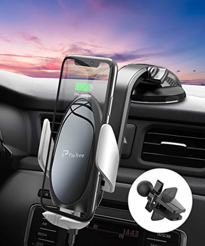 Wireless Car Charger Mount, PaiTree [Power Storage Technology] Automatic Sensor Car Phone Holder and Charger for Car…