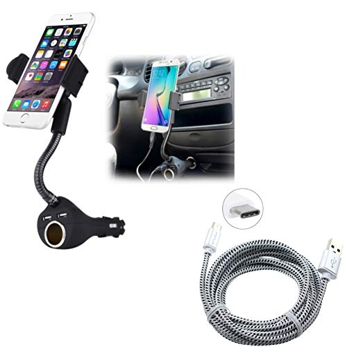 Car Mount Charging Socket Holder w Braided 6ft Long Type-C Cable Power Cord P6Q Compatible with Essential Phone (PH-1) - Google Pixel XL 3a XL 3 XL 2 XL - HTC Bolt, U11, 10, Life - Huawei P9