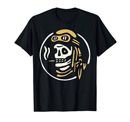 Vintage Biker Ghost Pilot - Tattoo Flash Rider Skull Tshirt - Old School Biker T-shirts