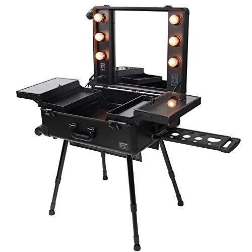 Triprel Inc Pro Rolling Studio Makeup Artist Cosmetic w/ Light Mirror Case Train Table - Black by Triprel Inc