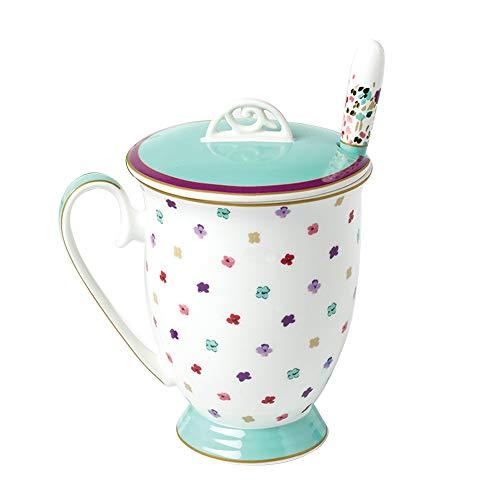 B.Hamster Mug Tea Cup Royal Fine Bone China Light Blue Stripe Gift Box (Cup=Colorful dot)