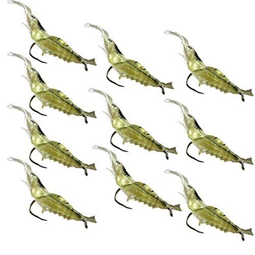 (FraftO Luminous Shrimp Bait Artificial Bait,10pcs Shrimp Soft Prawn Lure Hook Tackle Bait Saltwater Bass Fishing Lures )