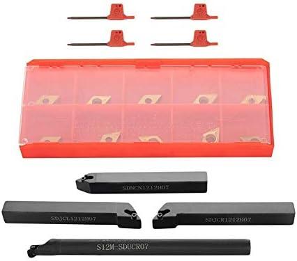 4Pcs 12x12mm Drehen Stahl Werkzeug Carbide Bohrstangen Drehen mit 10Pcs Wendeschneidplatten DIY Werkzeug