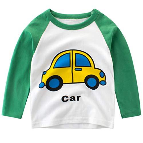 Csbks Boys Cotton Long Sleeve T-Shirts Kids Cute Car Raglan Tee Pullover Tops Green 4-5 Years