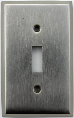 Classic Accents Stamped Steel Satin Nickel One Gang Toggle Light Switch Wall Plate ()