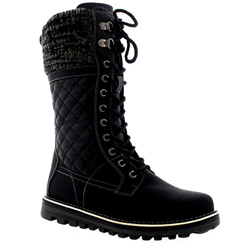 Mid Polar Waterproof Durable Thermal Black Boot Winter Outdoor Warm Calf Snow Leather Womens 00x8rU