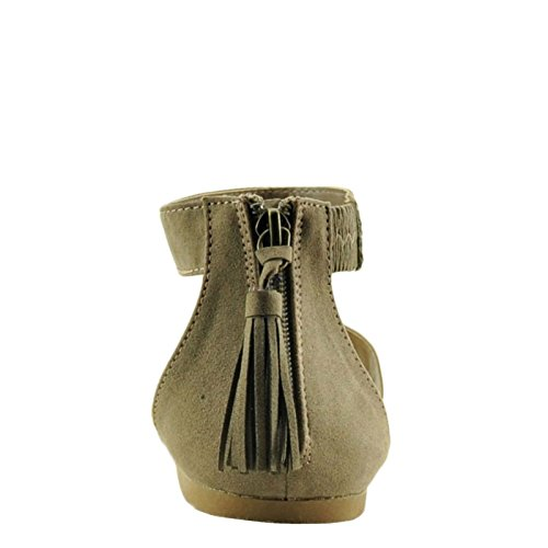 Bamboo Bayside 91s Mujeres Single Band Zip-up Sandalias De Borla De Color Lila Taupe