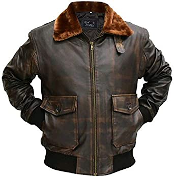 Aviator G-1 Flight Jacket Real Distressed Leather Bomber Jacket All Sizes Brown