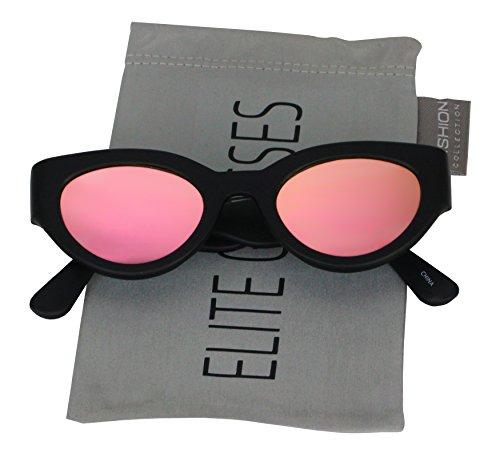 Elegant Small Sexy Cute Cat Eye Women Gradient Lens Vintage Retro Clout Goggles Oval Mod Sunglasses (Black / Pink-Orange (Goggle Skin Mirror)