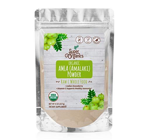 Super Organics Amla (Amalaki) Powder   Organic Superfood Powder   Raw Superfoods   Whole Food Supplement   Good Vitamin C Content – Vegan, Non-GMO & Gluten-Free, 8 Ounces