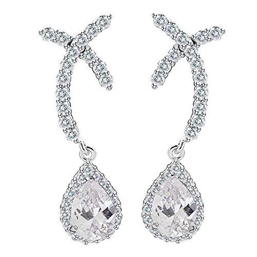 (Onefeart White Gold Plated Stud Earrings for Women Pear Cubic Zirconia Teardrop Shape Twist Cross Design Drop Earrings 9.5x33.5MM White)