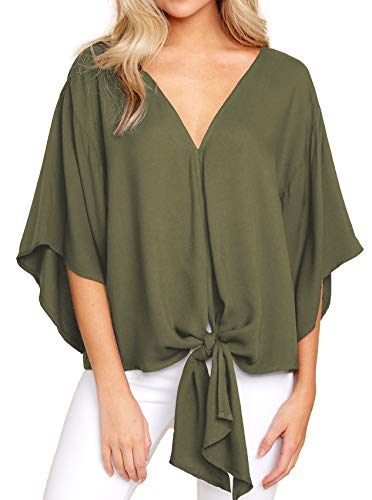 Allimy Women Summer Plus Size Knot Tops Short Sleeve V Neck Tunic Blouses Fashion 2019 Army Medium