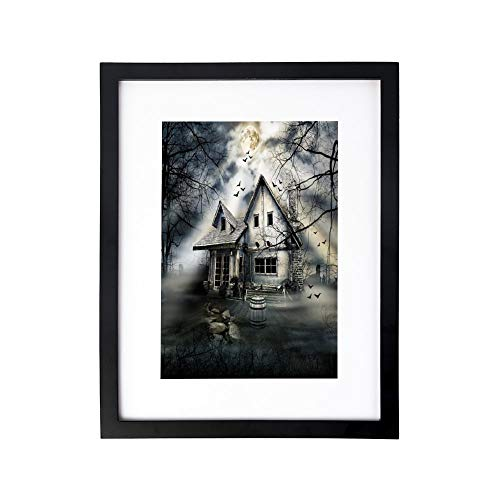Home Wood Framework Halloween,Happy Halloween Trick Or Treat Watercolor Stains Drops Pumpkin Face Bats,Orange Black White,Wall Art Ready to Hang for Living Room Kitchen Home Decor]()