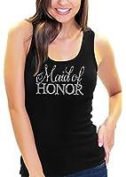 Flirty Maid Of Honor Women's Rhinestone Script Tank Top By RhinestoneSash.com