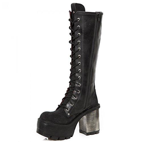 Nieuwe Rock Handgemaakte M Seve11 C1 Zwarte Vrouwen Geregen Laarzen