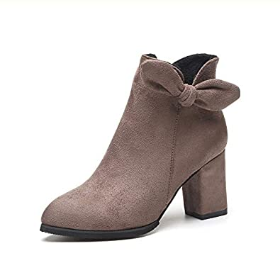 7a6278546ef2 Women s Pointed Toe Block Heels High Short Ankle Boots