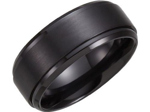 Satin Black Titanium Center 9mm Comfort Fit Band, Size 8 by The Men's Jewelry Store