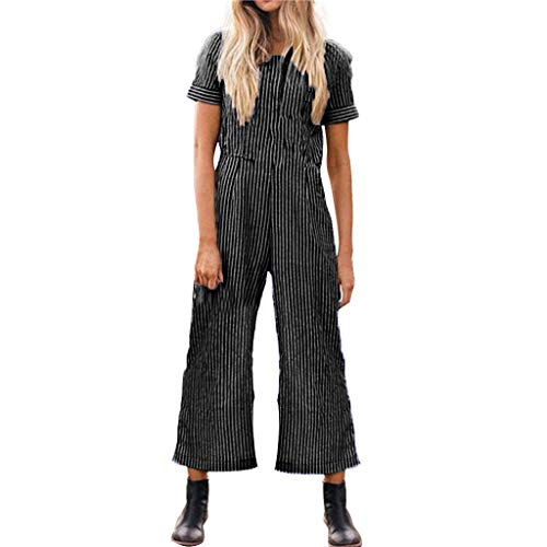 (Women Long Striped Jumpsuit O Neck Short Sleeve Overall Jumpsuits Wide Leg Long Pants Romper Casual Loose Jumpsuits and Rompers for Summer)