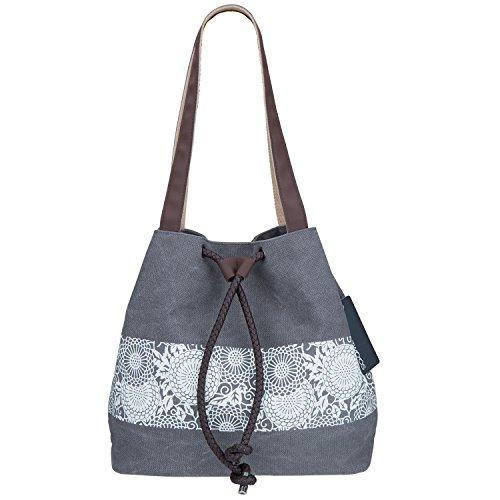 ZWOOS Canvas Shopper Tasche Schultertasche - Vintage Henkeltasche Beuteltasche für Schule Reisen Arbeit und Einkäufe (Braun)