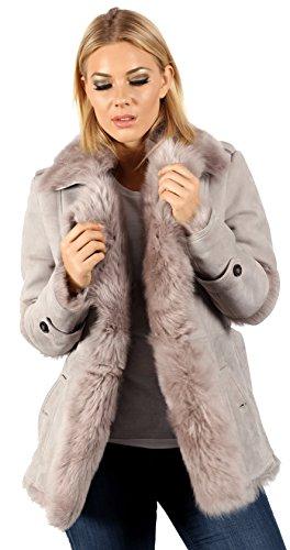 Infinity Women's Grey Toscana Sheepskin Trench Coat with Belt TieM (Wool Coat Toscano)