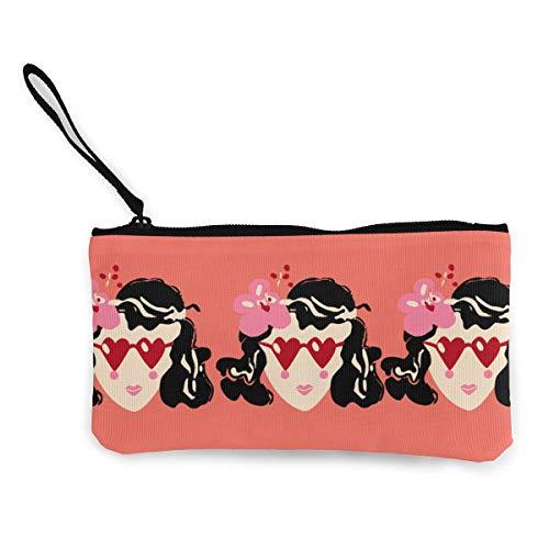 (MODREACH Funny Girl Love Heart Eyeball Pink Canvas Smartphone Wristlets Cash Coin Purses Make Up Bag Cellphone Clutch Purse with Wrist)