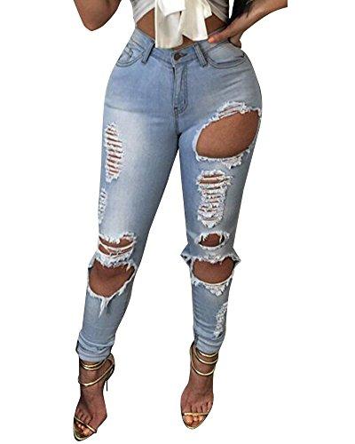Donna Azzurro Denim Pants Skinny Pantaloni Chiaro Jeans Strappato Fit Stirata Slim Matita FrwFvg7qB
