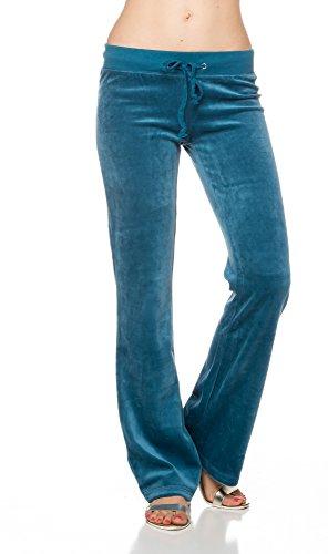 A.S Juniors Quality Velour Draw-String Track Pants (Medium, Dk.Teal) (Velour Pant Snap Pocket)
