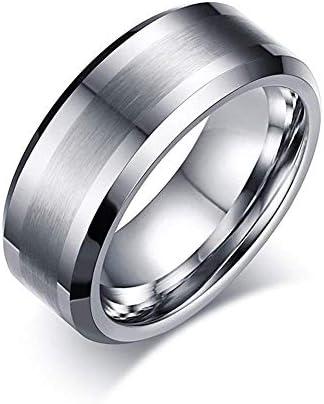 [スポンサー プロダクト]Rockyu アクセサリー タングステン リング メンズ シルバー 指輪 8mm 平打ち つや消し加工 金属アレルギー対応 (タングステン, 17)